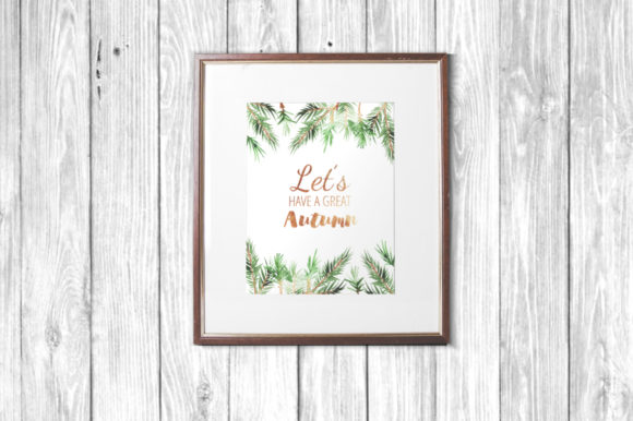 Watercolor Pine Branches Set Graphic Design