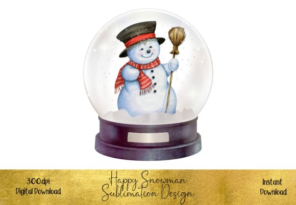 Watercolour Snowman in a Snow Globe Graphic Illustrations By STBB