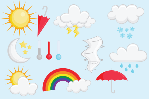 Print on Demand: Weather Elements Clip Art Set Graphic Objects By sonyadehart