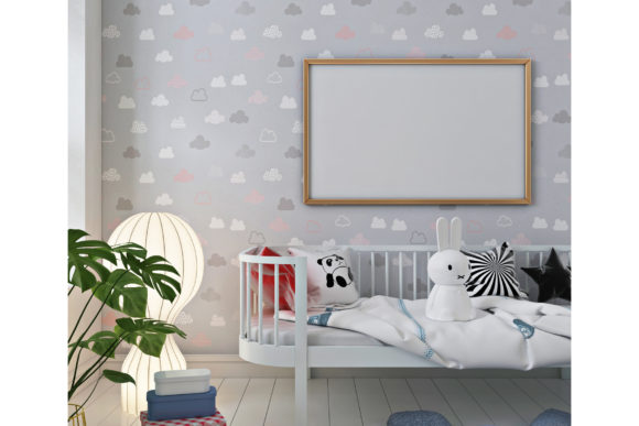 Mockup Poster and Wall in Nursery Room Graphic Product Mockups By izharartendesign