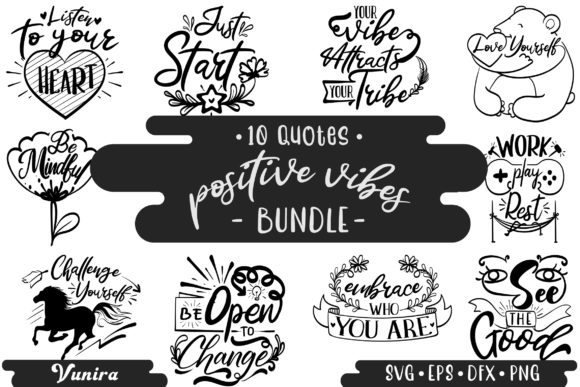 Print on Demand: 10 Positive Vibes Bundle | Lettering Gráfico Crafts Por Vunira