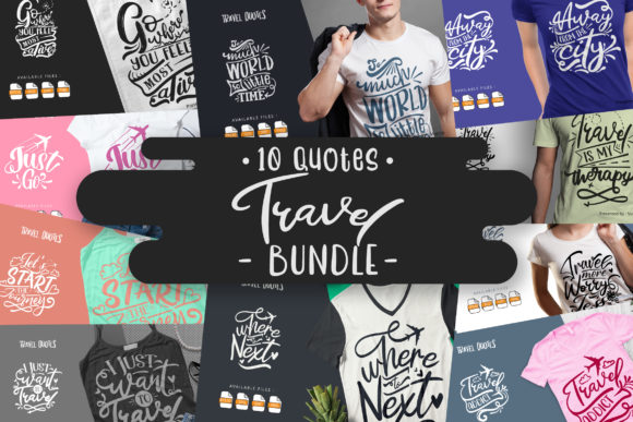 Print on Demand: 10 Travel Bundle | Lettering Quotes Graphic Crafts By Vunira