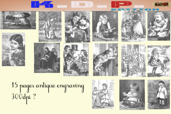 Print on Demand: 15 Engravings Old Black and White Drawin Graphic Illustrations By kdp Edition