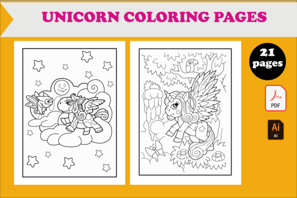 21 Cute Unicorn Coloring Pages for Kids Graphic KDP Interiors By KDP_DESIGN