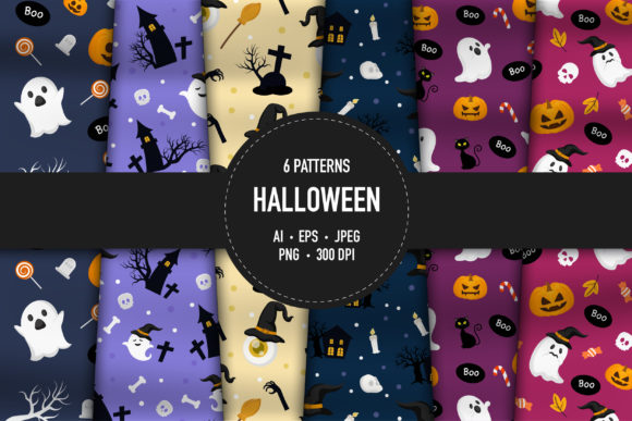 6 Halloween Pattens Graphic Patterns By bongkarngraphic