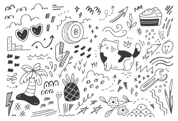 Abstract Doodle Set Vector Illustration Graphic Illustrations By Big Barn Doodles