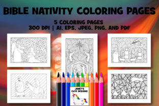 Print on Demand: Bible Nativity Coloring Pages Graphic Coloring Pages & Books By Janet's Cute Designs