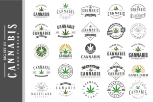 Print on Demand: Big Set of Vintage Hemp Cannabis Logo Graphic Logos By blueberry 99d