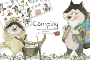Print on Demand: Camping. Set of Watercolor Elements Graphic Illustrations By laffresco04