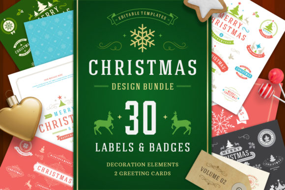 Christmas 30 Labels and Badges Graphic Objects By vasyako1984