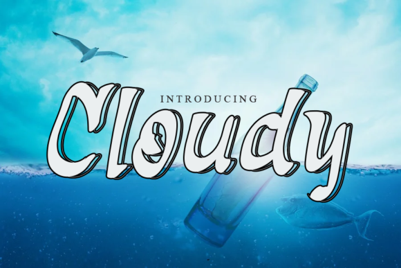 Print on Demand: Cloudy Display Font By gunawanletter
