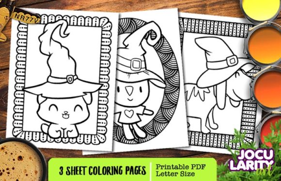 Cute Halloween Cats & Dog Coloring Page Graphic