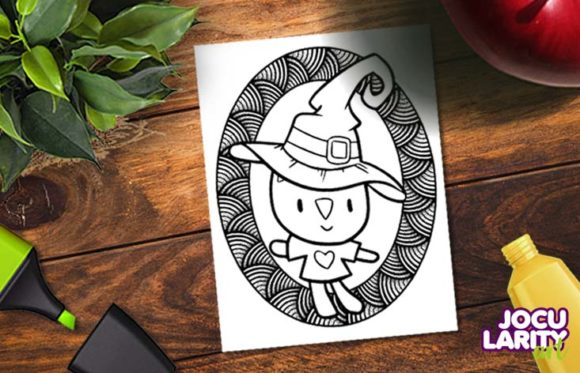Cute Halloween Cats & Dog Coloring Page Graphic Download