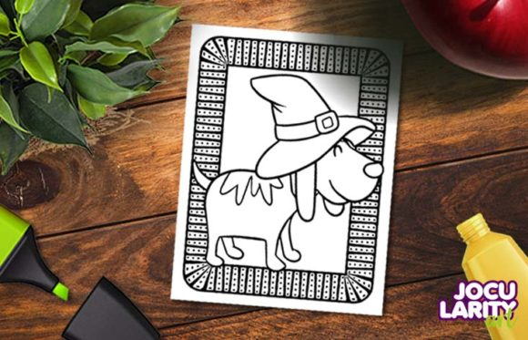 Cute Halloween Cats & Dog Coloring Page Graphic Item