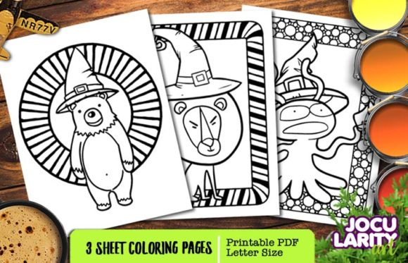 Print on Demand: Cute Halloween Predators Coloring Page Graphic Coloring Pages & Books Kids By JocularityArt