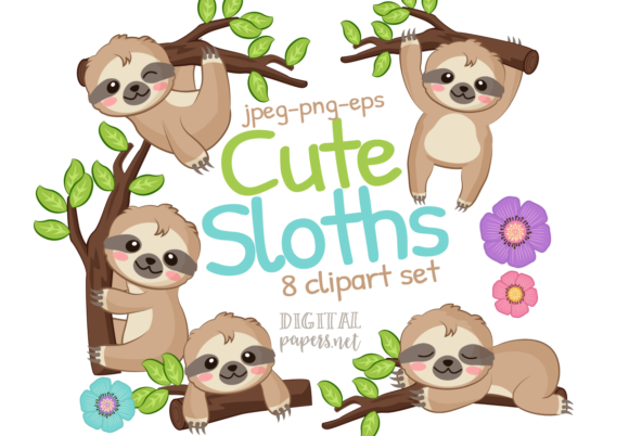 Print on Demand: Cute Sloth Graphic Illustrations By DigitalPapers