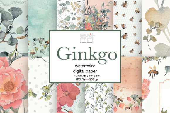 Ginkgo Paper Graphic Patterns By patrizia.moscone