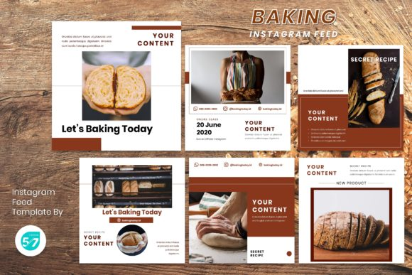 Instagram Feed Template - Baking Graphic Presentation Templates By maju57creative