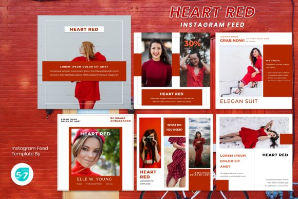 Instagram Feed Template - Heart Red Graphic Presentation Templates By maju57creative