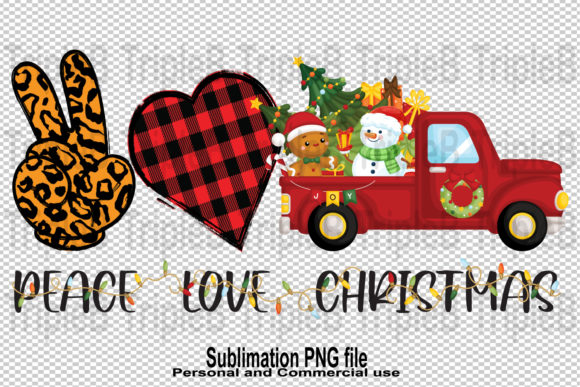 Print on Demand: Leopard Peace Love Christmas Sublimation Graphic Illustrations By TripleBcraft
