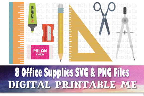 Print on Demand: Office Supply, Clip Art Back to School Graphic Crafts By DigitalPrintableMe