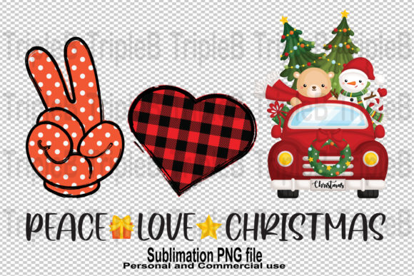 Print on Demand: Peace Love Christmas Sublimation Designs Graphic Illustrations By TripleBcraft
