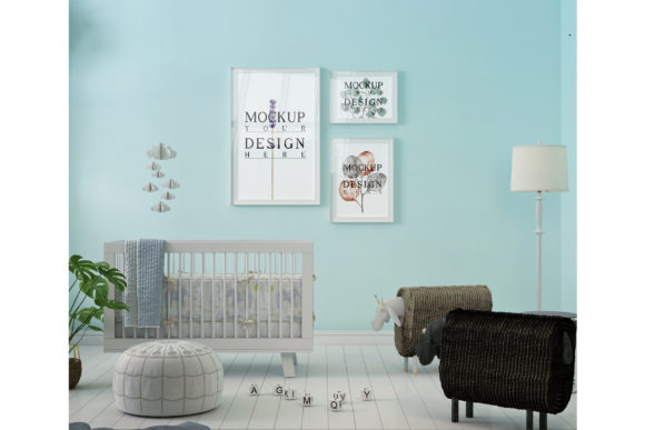 Photo Frame Mockup - Blue Nursery Room Graphic Product Mockups By izharartendesign