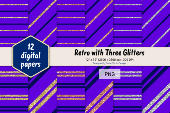 Print on Demand: Pinstripes W 3 Glitters #85 Graphic Backgrounds By SmartVectorDesign