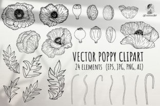 Print on Demand: Poppies Handdrawing Vector Clipart Graphic Illustrations By Komanna_Art