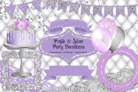 Print on Demand: Purple and Silver Party Decorations Graphic Illustrations By Digital Curio