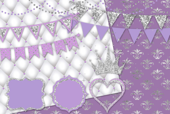 Purple and Silver Party Decorations Graphic Download