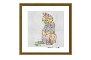 Print on Demand: Rainbow Cat Geometric Cross Stitch Graphic Cross Stitch Patterns By Tango Stitch