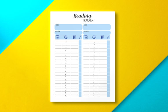 Reading Tracker Template, PDF Graphic KDP Interiors By Nickkey Nick