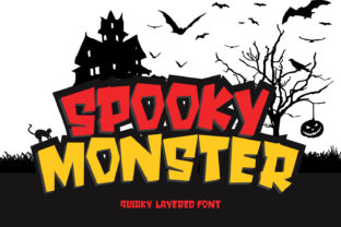 Print on Demand: Spooky Monster Display Font By creativework69