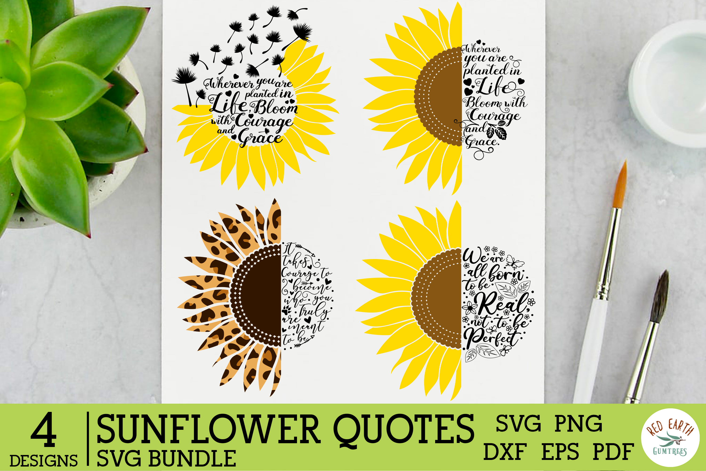 Sunflower Quote Saying Bundle SVG File