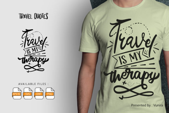 Travel is My Therapy Graphic
