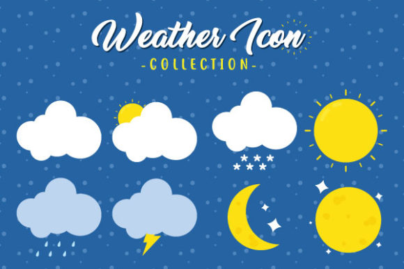 Various Weather Elements Vector Design Graphic Illustrations By yellagraphic