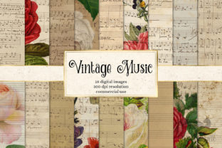 Print on Demand: Vintage Music Digital Paper Graphic Textures By Digital Curio