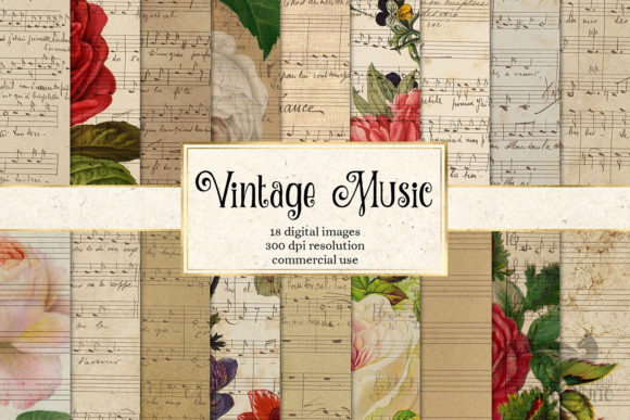 Print on Demand: Vintage Music Digital Paper Grafik Texturen von Digital Curio