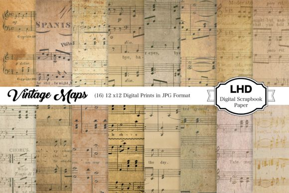 Vintage Sheet Music - Distressed Paper Graphic Patterns By LeskaHamatyDesign