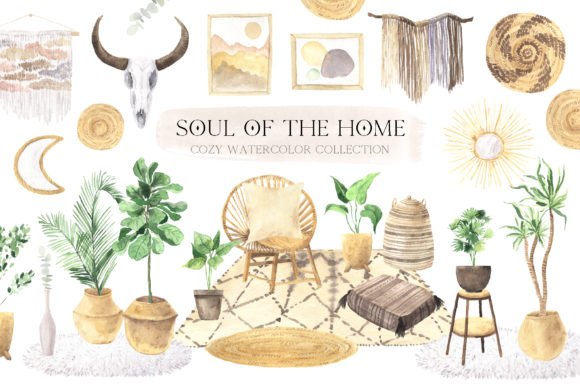 Watercolor Boho Home Interior Clipart Graphic Illustrations By Larysa Zabrotskaya
