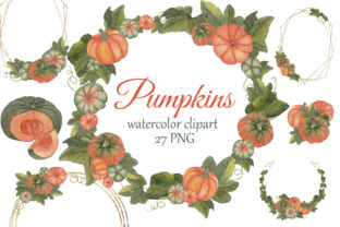 Print on Demand: Watercolor Pumpkins Clipart. Fall Graphic Illustrations By s.yanyeva