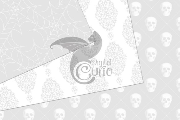 Print on Demand: White Gothic Digital Paper Graphic Backgrounds By Digital Curio - Image 2