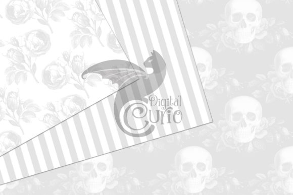 Print on Demand: White Gothic Digital Paper Graphic Backgrounds By Digital Curio - Image 3