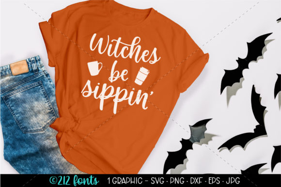 Print on Demand: Witches Be Sippin' Coffee Halloween SVG Graphic Illustrations By 212 Fonts