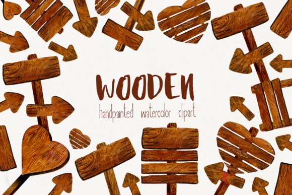 Wooden Pointer Watercolor Set Graphic Illustrations By Sadalmellik watercolor