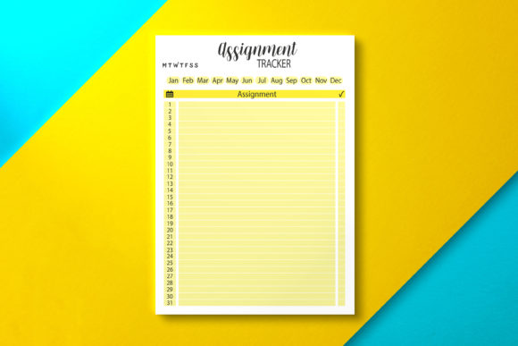 Year Assignment Tracker Template Graphic KDP Interiors By Nickkey Nick