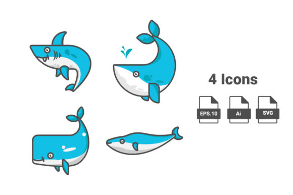 Vector Shark and Whale Flat Illustration Graphic Illustrations By assagav1234