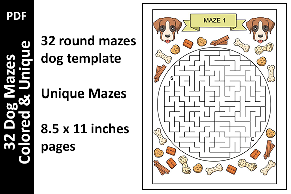32 Colored Dog Mazes Activity Unique Graphic KDP Interiors By Oxyp