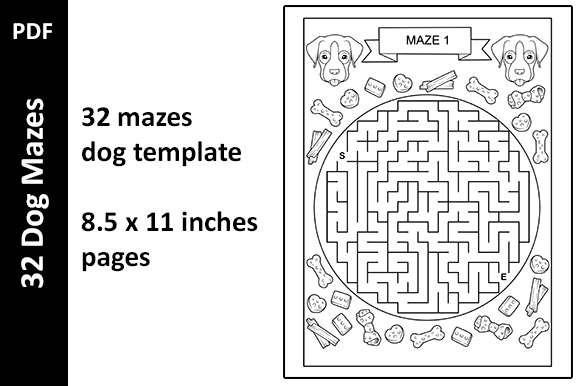 32 Dog Mazes PDF Activity Book Unique Grafik KPD Innenseiten von Oxyp